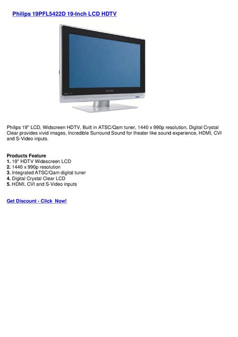 Monitor Lcd Philips 19 Inch philips 19pfl5422d 19 inch lcd hdtv by wide screen monitors issuu