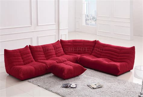 Red Fabric Modern Sectional Sofa W Ottoman