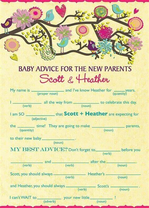 In The Shower Story baby shower mad libs baby shower ideas