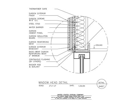eifs wall section usg design studio 09 21 16 03 132 durock window head