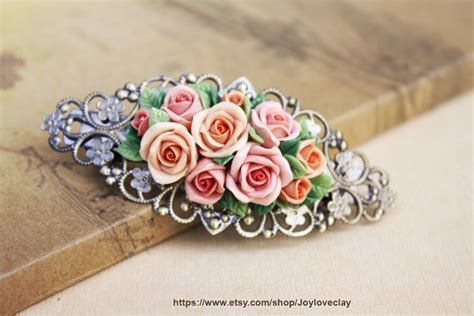 barrette hair clip hair accessories handmade flowers
