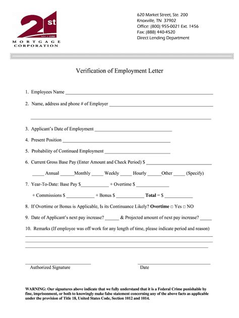 st mortgage employment verification form fill