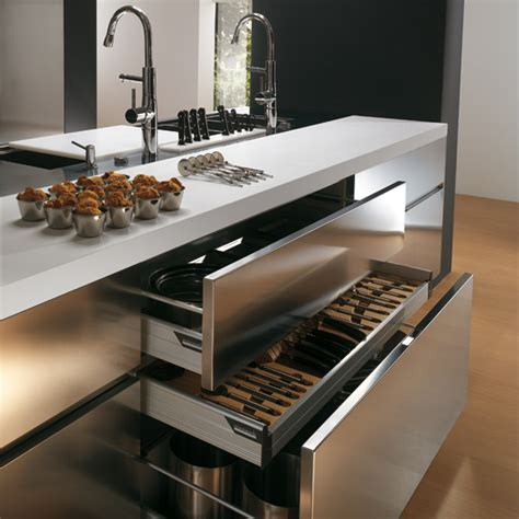 Stainless Steel Kitchen Furniture Contemporary Stainless Steel Kitchen Cabinets Elektra Plain Steel By Ernestomeda Digsdigs