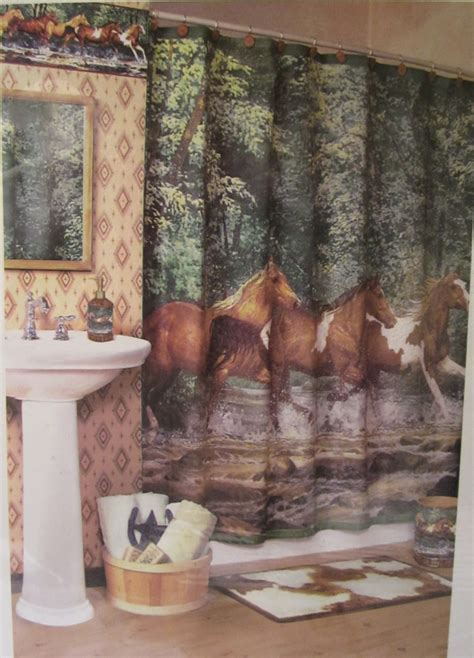 horse shower curtains western shower curtains horse room ornament