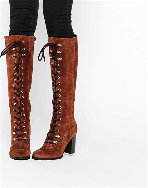 carvela wander rust suede lace up knee boots shoes