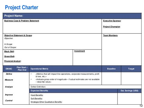project charter template powerpoint lean six sigma storyboard template by operational