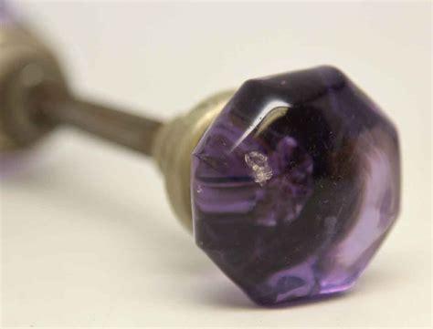 Purple Glass Door Knob Small Vintage Purple Glass Knob Set Olde Things