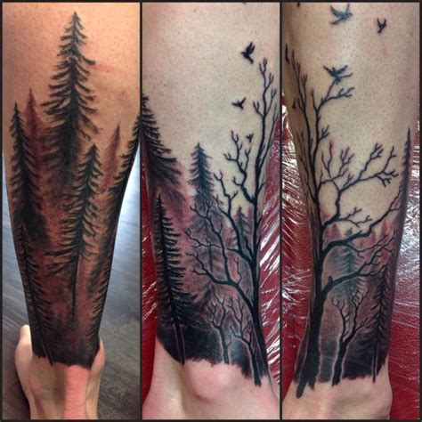 awesome forest tattoos on leg for boy picsmine