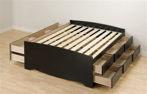 12 Drawer Bed Frame by Black Solid Wooden Platform Bed With 12 Tiered