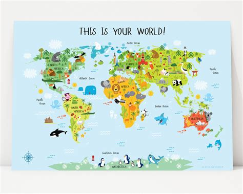 printable children s world maps free world map for kids instant download nursery decor high