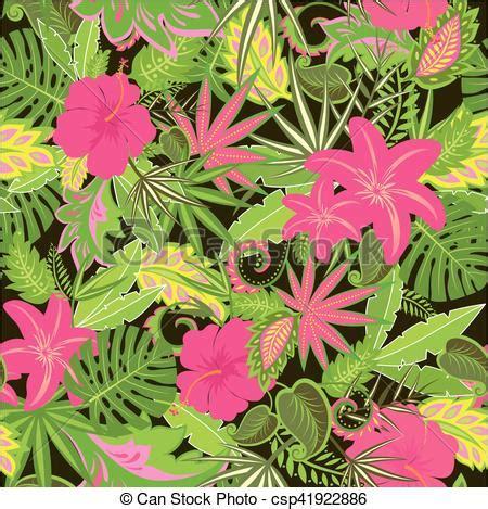 fiore tropicale esotico tropicale foglie carta da parati fiori vettore