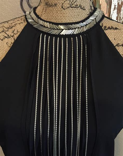 beaded collar dress black shift dress with fringe and beaded collar 183 jaded