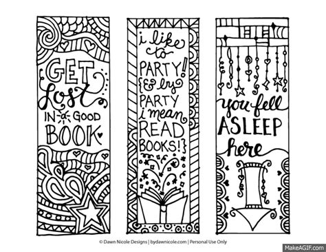 Printable Bookmarks You Can Color | free printable coloring page bookmarks dawn nicole designs 174