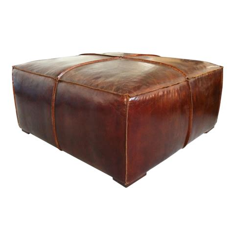 Stamford Coffee Table In Distressed Brown Top Grain Brown Leather Coffee Table