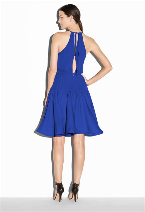 milly stretch silk crepe madison sundress in blue lyst