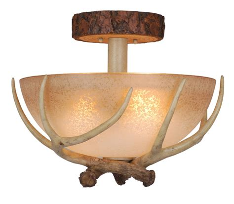cabin ceiling lights rustic antler semi flush ceiling light 16 inch