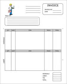 contractor invoice template sle contractor invoice templates 14 free documents