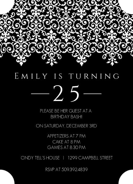 25th birthday invitation templates black and white 25th birthday invitation