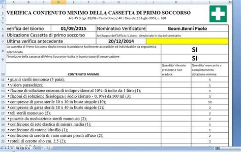 cassetta primo soccorso contenuto verifica contenuto minimo della cassetta di primo soccorso