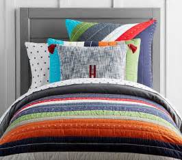 bright bedding bright stripe quilted bedding pottery barn