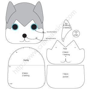 husky template puppy key pouch siberian husky craft free