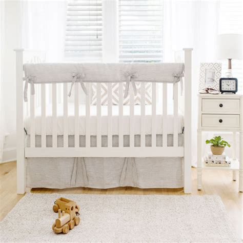 Crib Linen Sets by Striped Linen Crib Bedding Neutral Baby Bedding Unisex