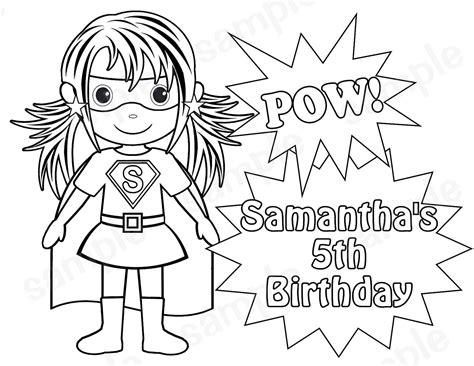 happy birthday superhero coloring pages personalized printable superhero girl birthday party favor