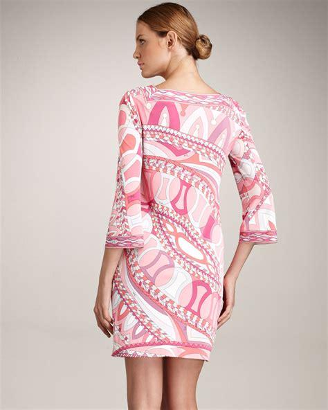 Emilio Pucci Dress lyst emilio pucci square neck dress in pink