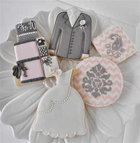 Wedding Cookies by Wedding Cookies Pink Grey Collection Cookie Connection