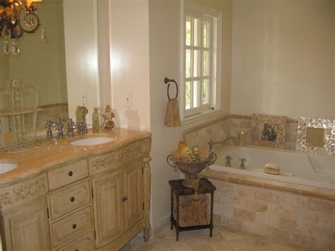 french country master bathroom classic travertine crema