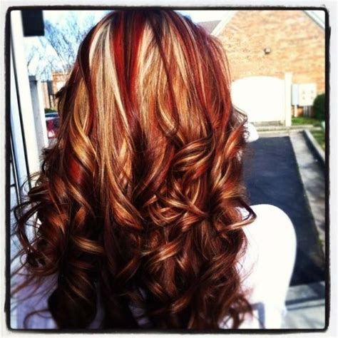 chocolate red hair on pinterest red blonde highlights red and blonde highlights on brown hair google search by