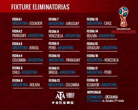 Calendario Eliminatorias Rusia 2018 Argentina Fixture Eliminatorias Mundial Rusia 2018 1 186 Fecha