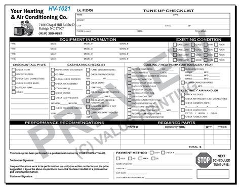 Hv 1021 Hvac Tune Up Work Order Checklist Value Printing Hvac Forms Pinterest Hvac Material List Template