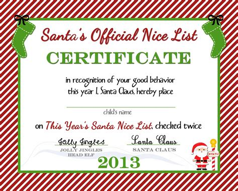 free printable nice list certificate from the north pole