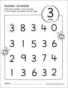 number scramble activity worksheet for number 3 for