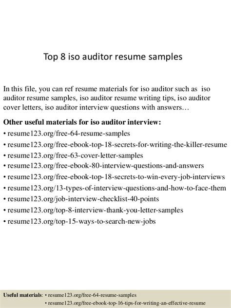 Iso Auditor Sle Resume by Top 8 Iso Auditor Resume Sles