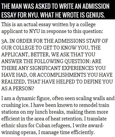 Nyu Entrance Essay by The Best Nyu Admissions Essay This Is Priceless