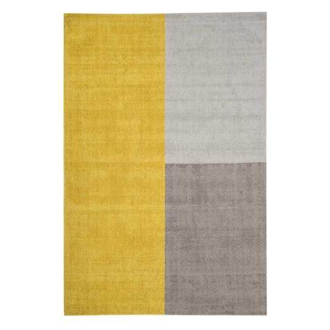 Tapis Jaune Et Gris 3583 by Tapis Moderne Tricolore Formes G 233 Om 233 Triques Jaune Et Gris