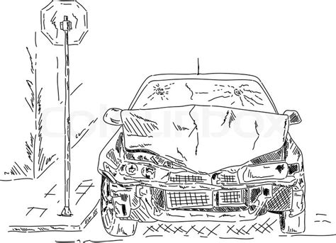 wrecked car drawing vector wrecked car isolated on white draw stock