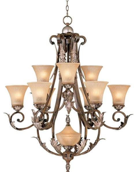 Country Cottage Bronze Gold Finish Acanthus Leaf Ten Acanthus Leaf Chandelier