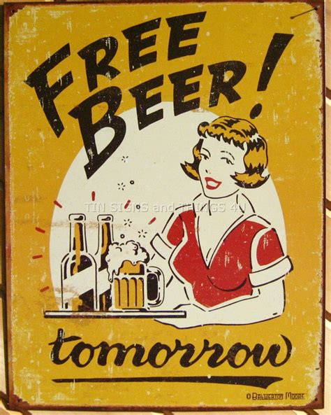 poster with bars free tomorrow tin sign retro vtg bar poster