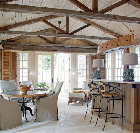 exposed ceiling beams in kitchen rattan bar stools home relaxing country rustic bar by carter kay