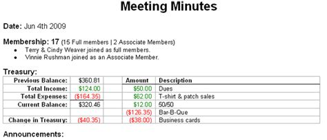 treasury report template chapter meetings