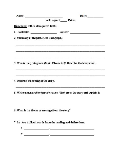one page book report template englishlinx book report worksheets