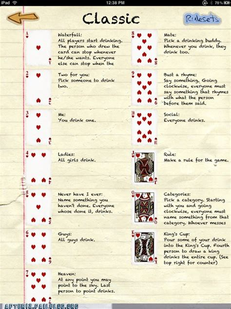 printable rules for card games drinking game of the week king s cup neato pinterest