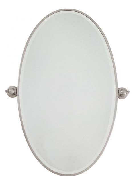 brushed nickel bathroom mirror minka lavery brushed nickel extra large oval pivoting
