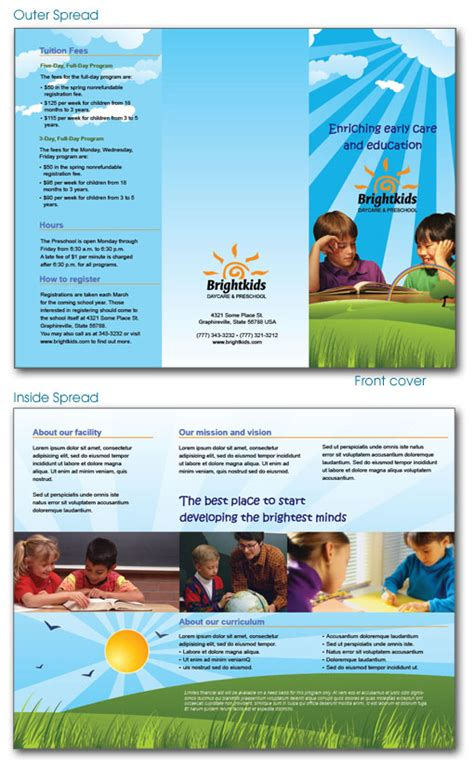 free brochures templates free indesign templates daycare preschool and health
