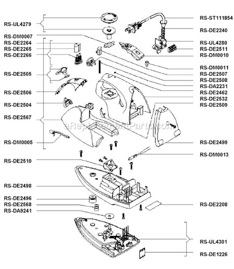 rowenta iron parts diagram rowenta de493a parts list and diagram ereplacementparts