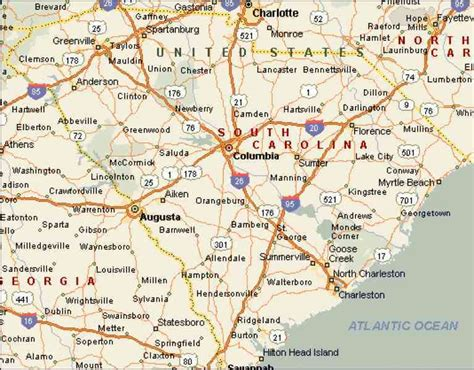 south carolina cities map map of counties in sc holidaymapq