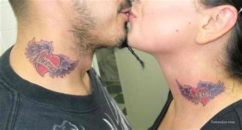 Couple Tattoo Neck | couples tattoos top 25 as voted by our famous panel